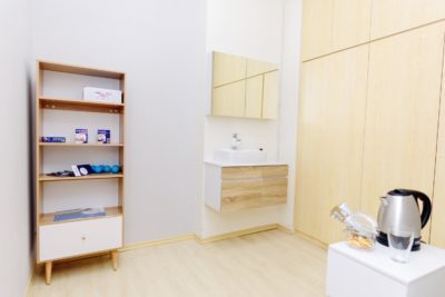 Inside Advanced Physio Care clinic, including tea and coffee